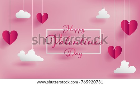 Valentines of paper craft design, contain pink hearts and clouds are holding by sting on top, soft pink background feel like fluffy in the air, Happy Valentine's Day text in middle with white border Royalty-Free Stock Photo #765920731