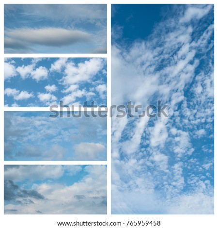 various cloudy sky collage texture #765959458