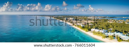 aerial panorama of the tropical paradise of the cayman islands in the caribbean sea Royalty-Free Stock Photo #766011604