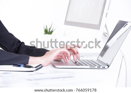 business woman work on table with tablet #766059178