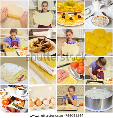 Collage with beautiful cooking girl and food in kitchen (1 model) #766063264
