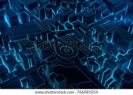 Abstract Futuristic Dark and line 3D Map of City, travel and tourism planning future technology concept. 3D illustration. #766081054