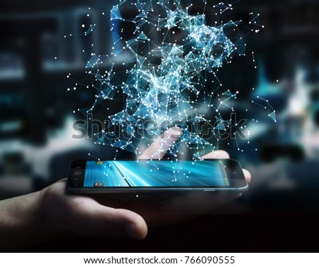 Businessman on blurred background holding flying network connection over mobile phone 3D rendering #766090555