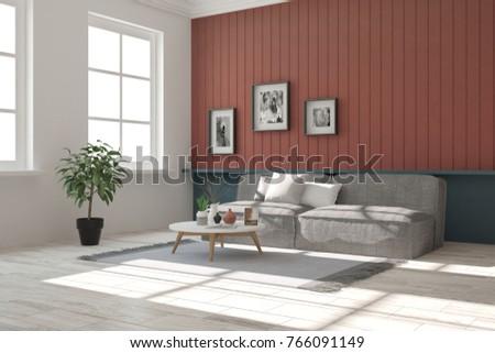 Idea of white minimalist room with sofa. Scandinavian interior design. 3D illustration #766091149