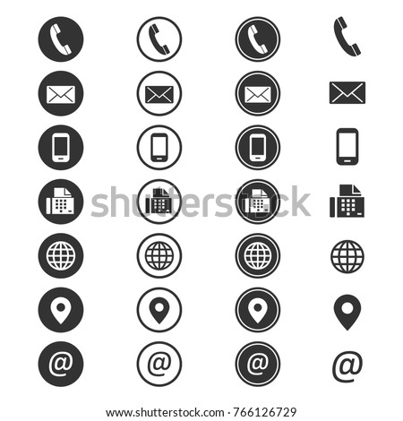 Contact info icon. Phone address-book, button contacts of the user, cell phone number or an email address information. Vector flat style cartoon contact us illustration isolated on white background Royalty-Free Stock Photo #766126729