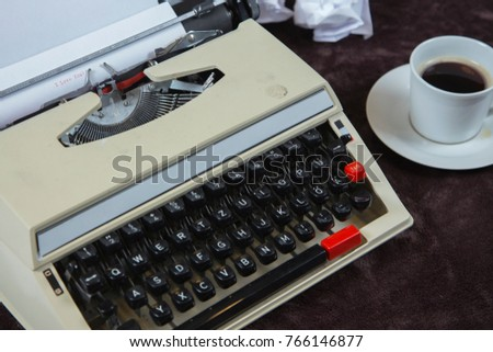the typewriter and coffee, view from above #766146877