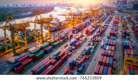 Logistics and transportation of Container Cargo ship and Cargo plane with working crane bridge in shipyard at sunrise, logistic import export and transport industry background #766253809