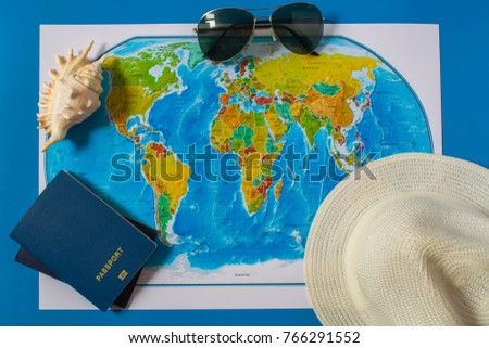Top view of the travel accessories card. Europe and America travel #766291552