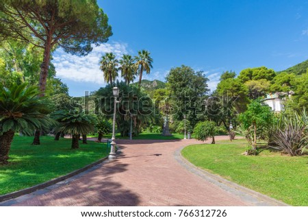 SALERNO, ITALY - 16 SEPTEMBER 2017 - The historic center of the big city on Tirreno sea, Campania region, southern Italy. Here in particular the central park with monument and fountain #766312726