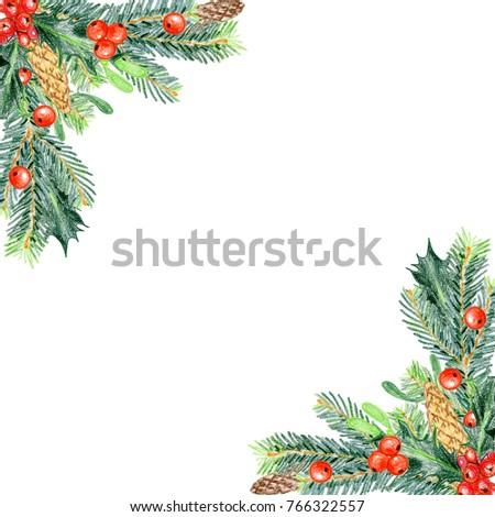 Colored pencils Christmas decorations for design. Spruce, cones, holly, mistletoe. Corner. #766322557