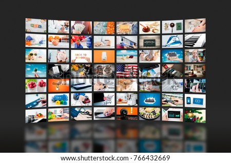 Multimedia video wall television broadcast. multimedia wall television video broadcast advertising background broadcasting concept #766432669