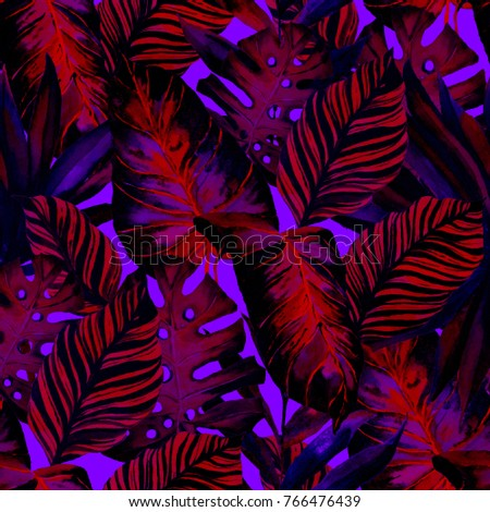 Watercolor seamless pattern with tropical leaves: palms, monstera, passion fruit. Beautiful allover print with hand drawn exotic plants. Swimwear botanical design.   #766476439