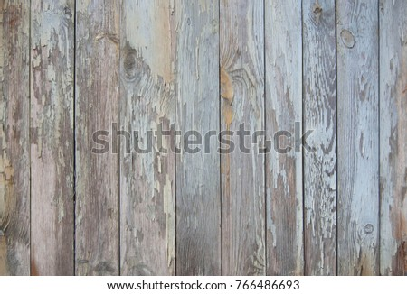 blue old wooden fence. wood palisade background. planks texture #766486693