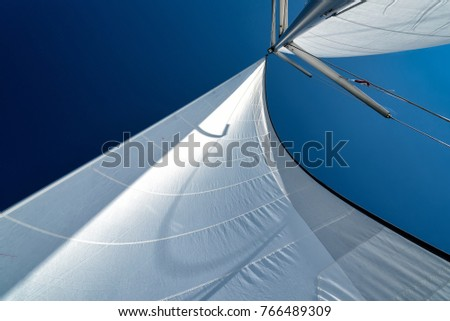sails of a sailing yacht in the wind Royalty-Free Stock Photo #766489309