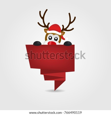 Christmas Reindeer in Santa Hat Peeping Out red Origami ribbon #766490119