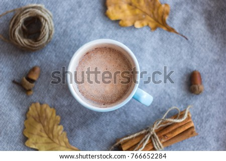 top view cocoa cup and atumn leaves #766652284