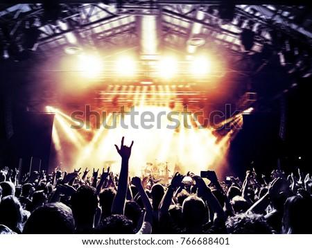 Concert fans raising horn signs #766688401