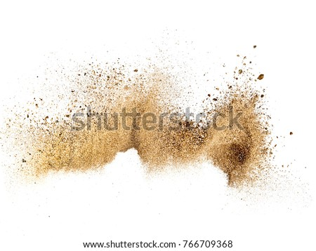 Dry river sand explosion Royalty-Free Stock Photo #766709368