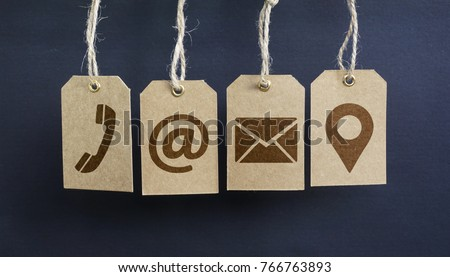 Website contact us icons on hanged paper tags with email, at, telephone and location pin symbol. #766763893
