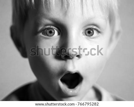 Black and white portrait of cute caucasian boy #766795282