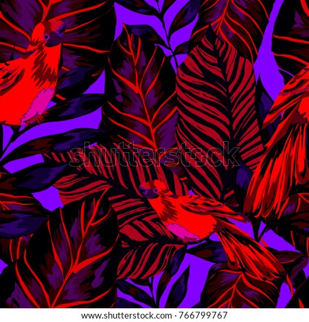 Tropical seamless pattern with leaves and red parrot.Beautiful allover print with hand drawn exotic plants and birds. Swimwear tropical design.   #766799767
