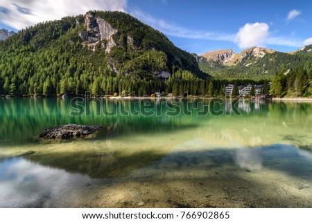 the Pragser Lake in Italy #766902865
