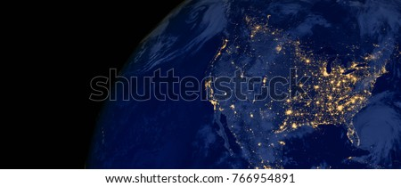 United States of America lights during night as it looks like from space. Elements of this image are furnished by NASA Royalty-Free Stock Photo #766954891