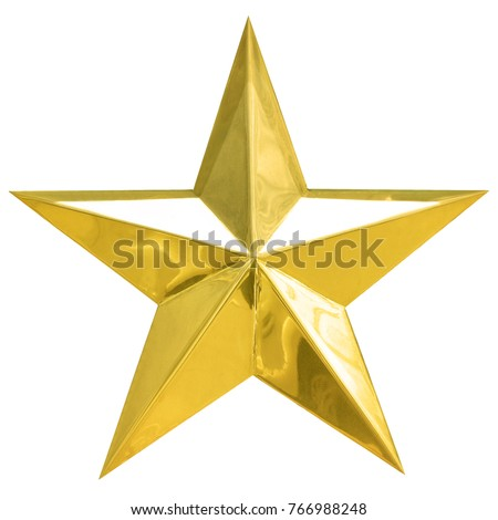 Star christmas Golden xmas day isolated on white background. This has clipping path.  #766988248