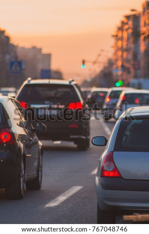 Cars and traffic jam in the city #767048746