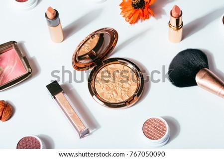 flat lay cosmetics makeup lipstick white background #767050090