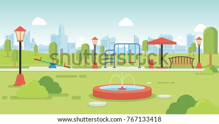 City park with park benches and kids playground Royalty-Free Stock Photo #767133418