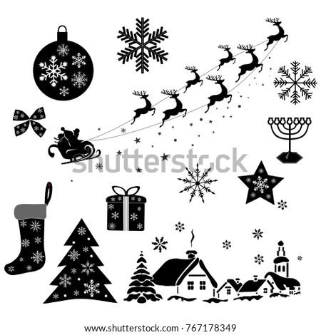 New Year at Doorstep. Set of Xmas Decorative Design Elements in Modern Flat Design. Vector Monochrome Illustration