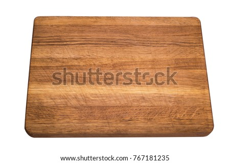 old empty kitchen wooden board isolated on white background #767181235