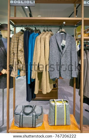 ROME, ITALY - CIRCA NOVEMBER, 2017: clothing on display at a second flagship store of Rinascente in Rome. #767206222