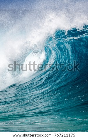 Close up of a breaking Ocean wave at Waimea bay on the north shore of Oahu Hawaii #767211175