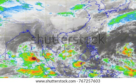 Rdar map of Thailand flooding Royalty-Free Stock Photo #767257603