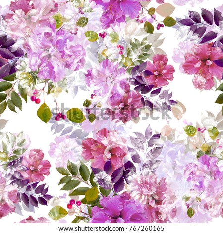 Nature flowers and leaves seamless pattern background .Realistic photo collage - clip art. Layer effect . Hibiscus and Dahlia