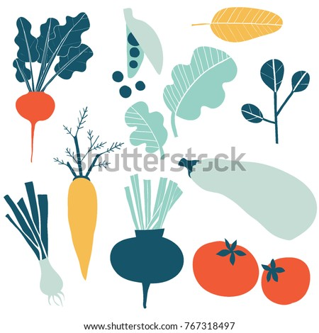 Set with hand drawn colorful doodle vegetables. Sketch style vector collection. Vegetables flat icons set: cucumber, carrot, onion, tomato.  Royalty-Free Stock Photo #767318497