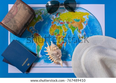Top view of the travel accessories card. Europe and America travel #767489410
