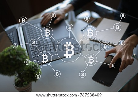 Bitcoin cryptocurrency. Financial technology. Internet money. Business concept. #767538409