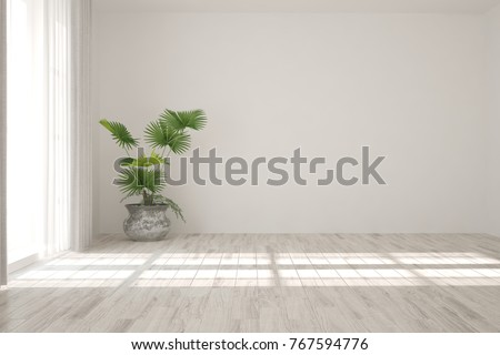 White empty room. Scandinavian interior design. 3D illustration #767594776