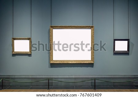 3 blank hanging individual frames in an art gallery museum exhibition template