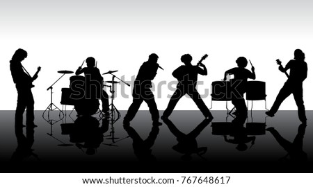 Rock band silhouette on stage. Vector illustration #767648617