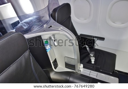 NEW YORK -17 JUN 2017-  Business class seats inside the Mint cabin of an airplane from JetBlue (B6). #767649280