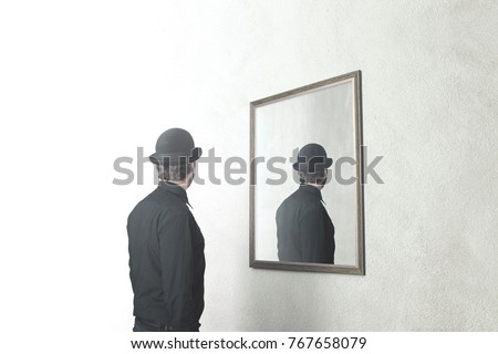man in front of mirror that reflect his back, surreal magritte concept #767658079