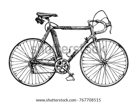Vector hand drawn illustration of racing bicycle in ink hand drawn style.