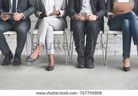 Group of diverse people are waiting for a job interview Royalty-Free Stock Photo #767796808