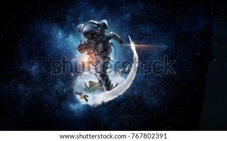 Spaceman running fast. Mixed media #767802391
