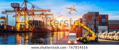 Logistics and transportation of Container Cargo ship and Cargo plane with working crane bridge in shipyard at sunrise, logistic import export and transport industry background #767814616