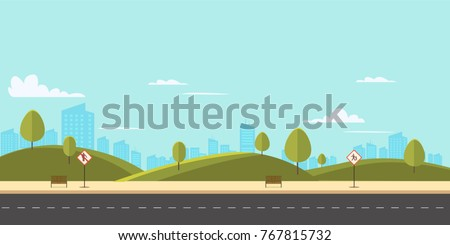 Street in public park with nature landscape and building background vector illustration.Main street scene with public sign vector.City street with sky background Royalty-Free Stock Photo #767815732
